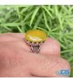 انگشتر عقیق زرد نقره رکاب دست ساز مردانه نفیس Agate