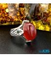 انگشتر عقیق یمنی قدیمی با مخراج زمرد کار کرده نقره رکاب دست ساز silver ring Agate