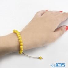 دستبند عقیق زرد (شرف شمس) درمانی با بند مکرومه فری سایز  Agate