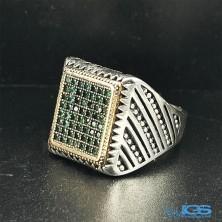 انگشتر نگین زمرد نقره رکاب ماشینی Emerald silver ring
