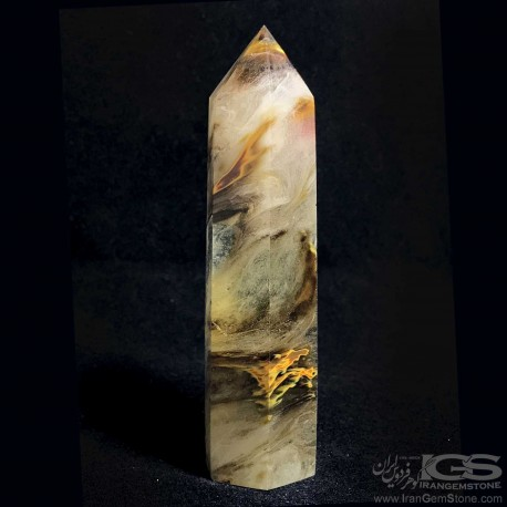 سنگ منشور کریستال کوارتز شیره ایی برزیل Crystal Quartz