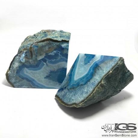 اسلایس عقیق سلیمان طبیعی آبی برزیل Agate