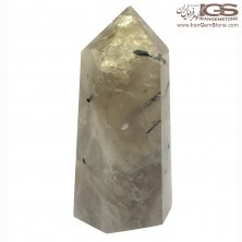 منشور سنگ روتیل کوارتز دودی روتایل rutile quartz