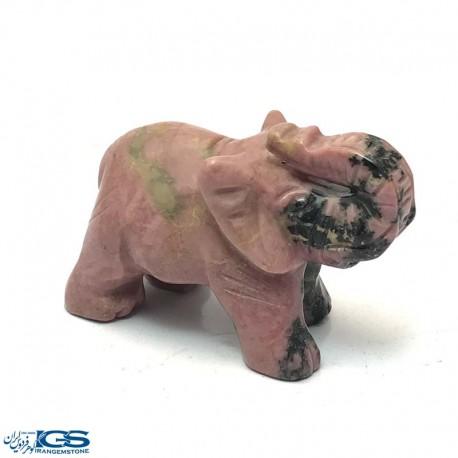 مجسمه فیل سنگ رودونیت Rhodonite