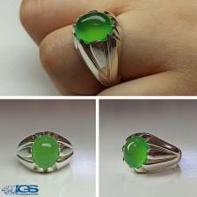 انگشتر نقره عقیق سبز سلیمانی Agate