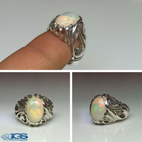 انگشتر نقره مردانه اوپال اپال طبیعی استرالیا Opal