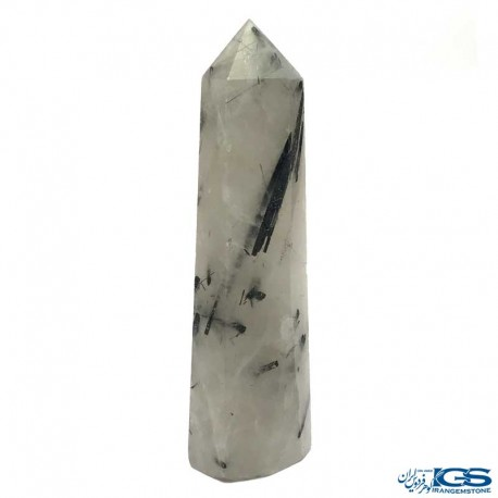 منشور درمانی سنگ روتیل مشکی کوارتز روتایل rutile quartz