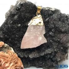 آویز راف سنگ رزکوارتز rose quartz
