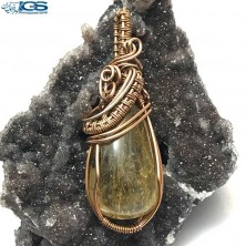 آویز بافت مس سنگ روتیل طلایی کوارتز روتایل rutile quartz