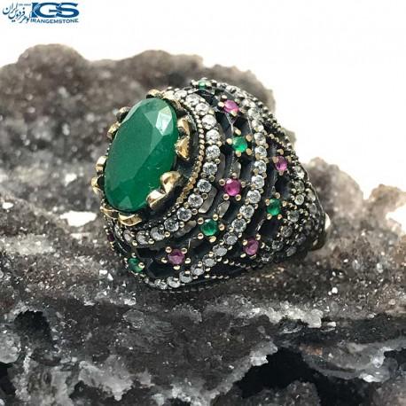 انگشتر عثمانی سنگ یشم (جید) مرمر سبز stone jade