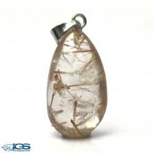 آویز سنگ روتیل طلایی کوارتز روتایل rutile quartz