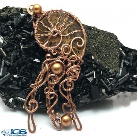 آویز بافت مس فسیل کلکسیونی آمونیت fossil ammonite