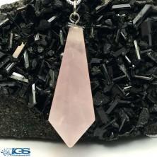 آویز منشور سنگ رزکوارتز rose quartz