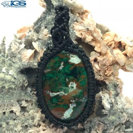 آویز بافت مس سنگ آزوریت مالاکیت Malachite Azurite