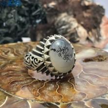 انگشتر نقره عقیق شجر درختی رکاب دست ساز Agate