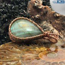 آویز دور مس سنگ لابرادوریت Labradorite