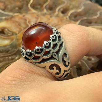 انگشتر نقره عقیق یمانی قرمز رکاب دست ساز کارکرده Agate