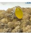 انگشتر نقره عقیق زرد شرف الشمس رکاب ماشینی Agate