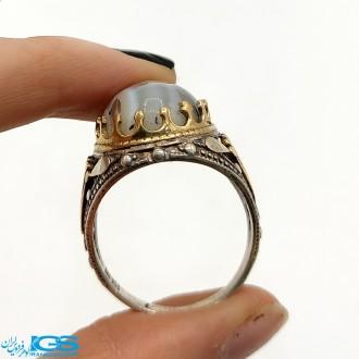 انگشتر نقره عقیق شجر رکاب ماشینی Agate