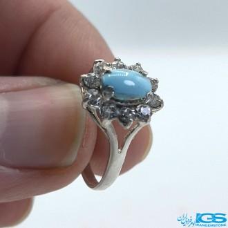 انگشتر نقره زنانه فیروزه طبیعی نیشابور TURQUOISE