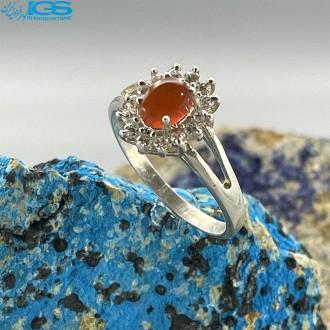انگشتر نقره زنانه عقیق یمانی سرخ رکاب ماشینی Agate