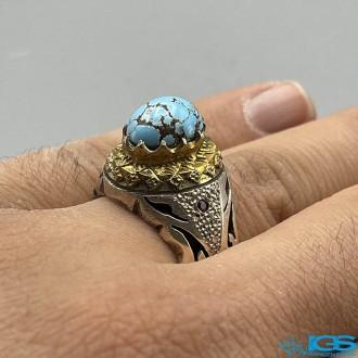 انگشتر نقره مردانه فیروزه طبیعی نیشابور با نگین یاقوت TURQUOISE
