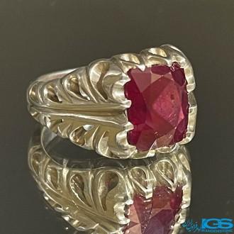 انگشتر رکاب دست ساز آریا جواهر یاقوت سرخ برمه ruby