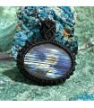گردنبند سنگ لابرادوریت طلایی مکرومه بافی Labradorite