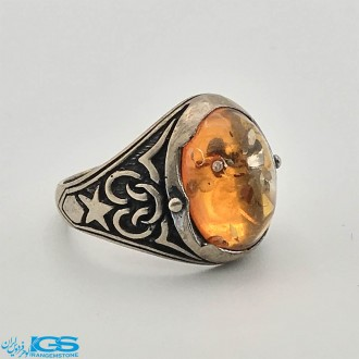 انگشتر سنگ کهربا مصنوعی رزین Amber