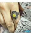 انگشتر عقیق زرد نقره رکاب ماشینی زنانه نفیس با دعای شرف شمس Agate