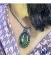 گردنبند سنگ لابرادوریت بافت مکرومه با بند فری سایزLabradorite